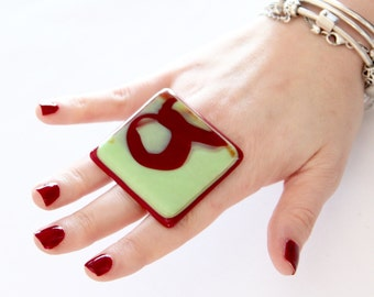 Fused Glass Jewelry Cocktail Ring - bold ring, handmade ring, adjustable ring, statement ring, cocktail ring, Studioleanne