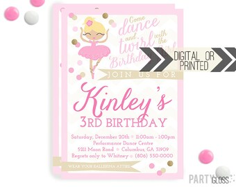 Ballerina Party Invitation | Digital or Printed | Dance Invitation | Ballerina Party | Ballet Birthday Party | Ballerina Invitations