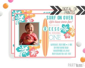 Surf Birthday Invitation | Digital or Printed |  Surfer Girl Party | Surfer Invite |  Surf Invite | Surfboard Invitation | Surfboard Party