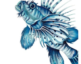 Swimming Lionfish watercolour Art Print of a contemporary Watercolor Illustration Beach Decor