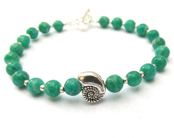 Amazonite bracelet, Beaded Bracelet with Nautilus Charm for a Small Sized Wrist
