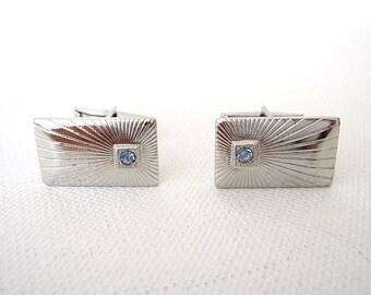 Vintage Pair Silver Metal Cuff Links Ribbed with Blue Rhinestones