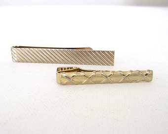 2 Vintage Tie Bars Gold Tone Metal Clip on and Slide on