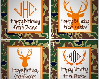 Camouflage Camo Deer Sticker, Gift Enclosure Card, Address Label - STRIPE - Set of 24