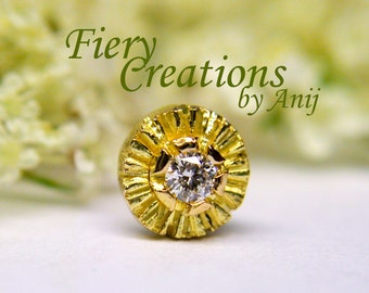 """Nose Screw / Tragus stud """"Una Girasole in Toscana"""" - 18k SOLID Yellow Gold with an exquisite 1.5pt Fine White Diamond, OOAK"""