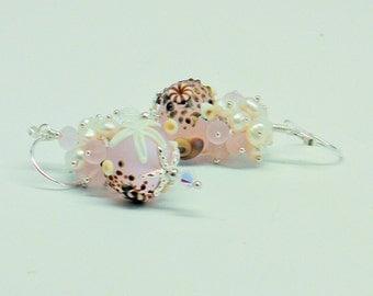 Lampwork beads Earrings,Sterling Silver Earrings,Seashell Earrings, Pink Beach Earrings, Beach jewelry, Nautical Earrings,Pearl Earrings