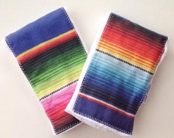 Baby Burp Cloth Gift Set - Colorful Mexican Serape print - Mexican Blanket Baby Gift - Boho Baby Burpie - Maui, Hawaii by bitty bambu
