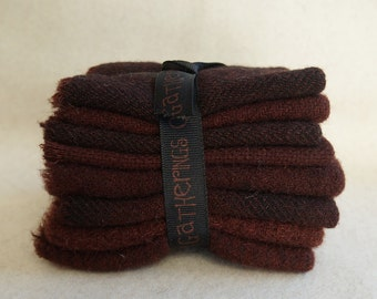 Walnut Brown Hand dyed felted wool in a range of Walnut Brown tones - perfect rug hooking and applique wool Primitive Gatherings Wool