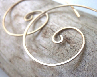Gold Spiral Open Hoop Earrings
