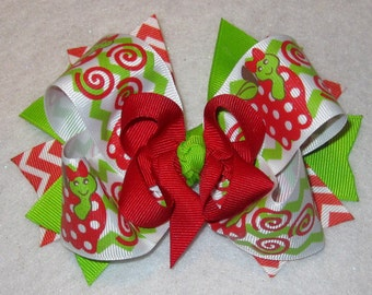 Boutique Hair Bow Back to School Fall Apple Large Hairbow Layers of Loops Red 2 sizes Available for Baby Toddler to Little Girl Lime Green