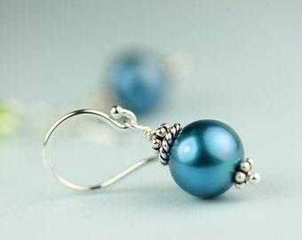 Pearl Drop Earrings Blue freshwater pearl earings on Argentium French Hooks by art4ear, woman's jewelry, gift under 30 USD, something blue