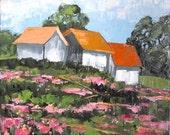 Impressionist Painting CALIFORNIA Plein Air Hilltop Farm Barns Wildflowers Landscape Art 16x20 Lynne French