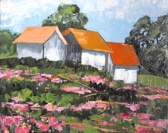 Impressionist Painting CALIFORNIA Plein Air Hilltop Farm Barns Wildflowers Landscape Art 16x20 Lynne French
