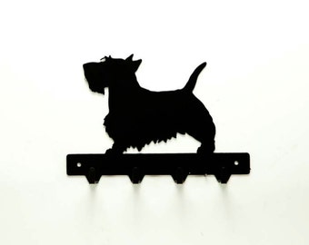 Scottish Terrier Metal Art Dog Leash or Key Rack - Free USA Shipping