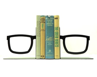 Split Glasses Metal Art Bookends - Free USA Shipping