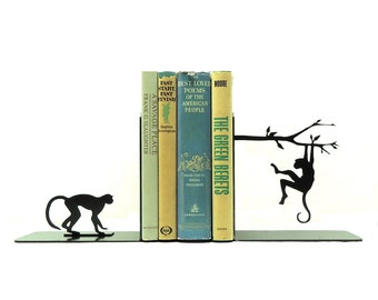 Monkey Metal Art Bookends - Free USA Shipping