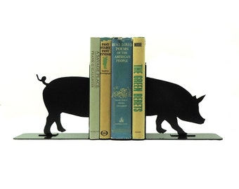 Pig Metal Art Bookends - Free USA Shipping