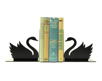 Swan Metal Art Bookends - Free USA Shipping