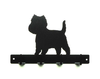 Westie Metal Art Leash Or Key Rack - Free USA Shipping