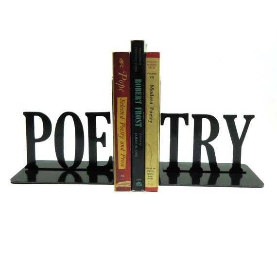 Poetry Text Metal Art Book Ends