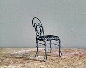 Vintage Metal Chair Wire Sculpture Collectible Miniature Furniture