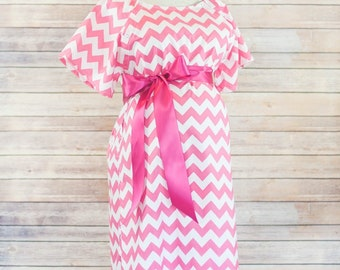 Maternity Hospital Delivery Gown in Hot Pink Chevron - Super soft fabric with snaps for easy breastfeeding and skin to skin