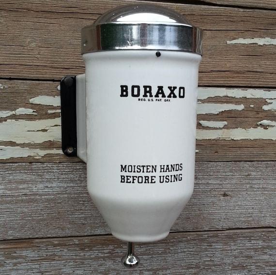 Vintage 1940s Commercial Porcelain Boraxo Soap Dispenser