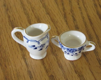 Miniature Sugar and Creamer/Blue and White China with Gold Trim/Dollhouse Dishes/Children/Toys/Playhouse
