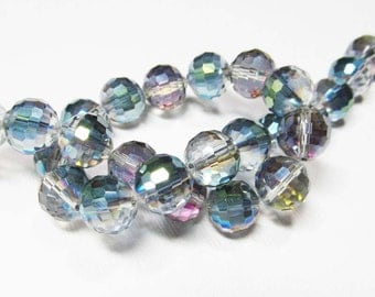 LOOSE Glass Beads - Glass Crystal Beads - 10mm Faceted Round - Clear with Blue, Green, and Purple AB (5 beads) - gla1029