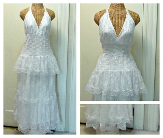 Halter Lace Wedding Dress Alternative 2 pc Size Medium Large White Unique Tiered Boho Chic Lined Bridal Romantic Womens by Savoy Faire