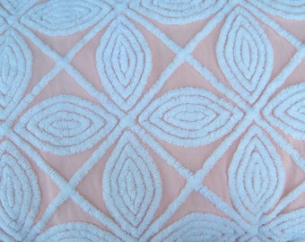 Hofmann Peach and White Large Scale Floral Plush Vintage Cotton Chenille Bedspread Fabric 18 x 24 Inches