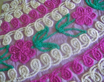 Grape and Raspberry Floral Vintage Chenille Fabric 17 x 23 Inches