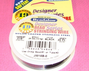 """Beadalon 19 Strand Bead Stringing Wire Spool BLACK .018"""" 30 ft Jewelry Supplies Wire Nylon Coated Stainless Steel for Necklaces & Bracelets"""