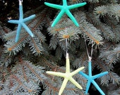 Beach Nautical Starfish Christmas Ornaments, Painted Blue / Green