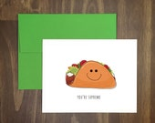 valentines card / taco supreme / fun just because card / birthday / romance / taco lover / foodie / food pun / taco bell / for him / for her