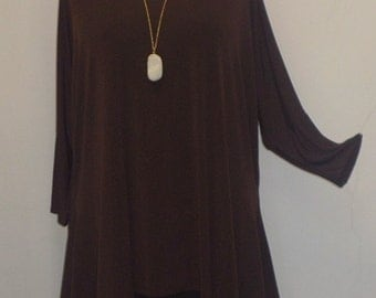 Coco and Juan Lagenlook Plus Size Top Chocolate Brown Traveler Knit Drape Side Tunic Top One Size Bust  to 60 inches
