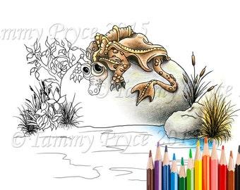 Fantasy Sad Little Dragon on Rock Adult Coloring Page Digi Stamp Instant Download Printable PDF