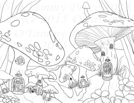 Fantasy Mushroom Village Landscape Adult Coloring Page Digi Stamp Instant Download Printable PDF