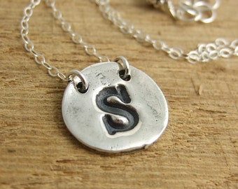 Sterling Silver Initial Charm Necklace with Two Holes on Sterling Silver Chain