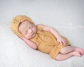 Mohair Dress Newborn Photo Prop Knit Lace Baby Girl Dress Bonnet Set Romper Gold Going Home Outfit Skirt Coming Home Girl Hat Knitted Gown