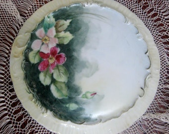 Vintage Trivet Victorian Floral China Hot Plate Porcelain Hand Painted Pink Roses 1950s