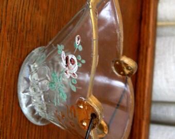 Vintage Souvenir Gettysburg Coal Bucket Scuttle Victorian Match Holder Purple White Rose Clear Glass 1920s