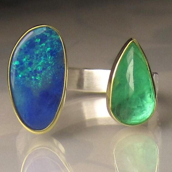 10 sale boulder opal ring emerald ring boulder opal