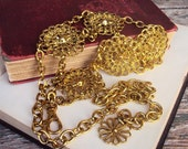 Vintage Medallion Chain Belt Accent Metal Belt from the 1970s Gold Tone Gypsy Belt Belly Dancer