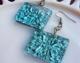 Vintage Style Bohemian Earrings Turquoise Glass Medallions Silver Hook Ear wires