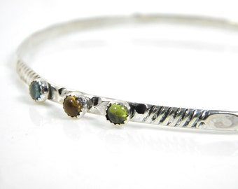 Sterling and gemstone bangle, gemstone bracelet, silver patterned bangle, xlarge bangle,peridot, citrine, iolite, stacking bangle
