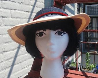 Vintage 1940s Ombre Striped Summer Visor Sun Hat