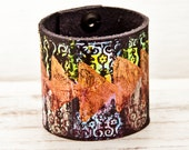 2016 Fashion Bohemian Bracelet - Gypsy Jewelry - Wide Leather Cuffs - Brightly Colored Wristbands - Colored Leather Bracelet