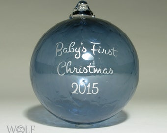 Personalized Baby's First Christmas Ornament Blown Glass Denim Blue Etch