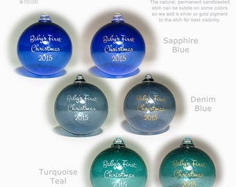 Personalized Ornament Custom Etched Blown Glass Ball